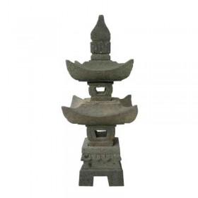 Lanterne pagode 2 niveaux en pierre de lave, 70 cm