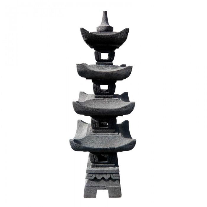 Lanterne pagode 4 niveaux en pierre de lave, 130 cm