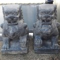 Statues paire de lions Fu Foo finition antique