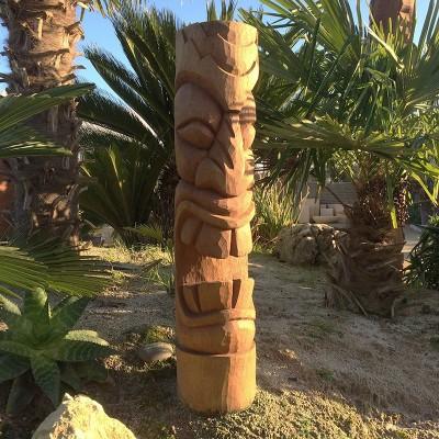 Statue Totem Tiki bois Hapiti, 100 cm