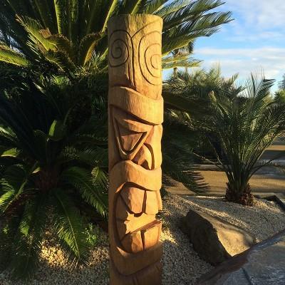 Statue Totem Tiki bois Morea, 150 cm