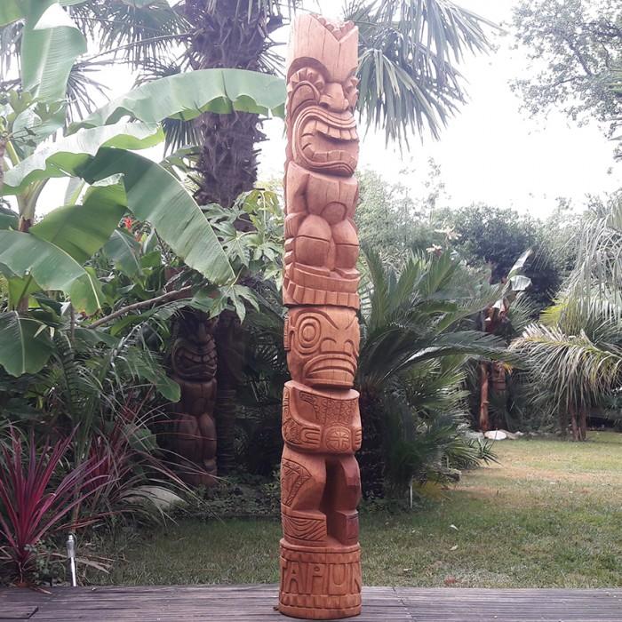 Statue totem tiki bois Tangaora