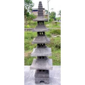 Lanterne pagode 5 niveaux en pierre de lave, 147 cm
